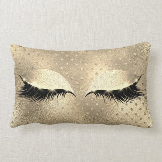 Gold Faux  Sepia Beauty Black Glitter Makeup Lumbar Cushion