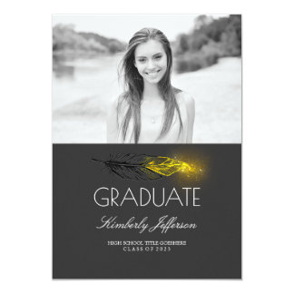 Gold Feather Glitter Photo Graduation Party Card