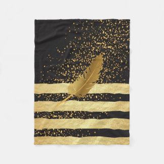Gold Feather on Gold Confetti and Stripes Fleece Blanket