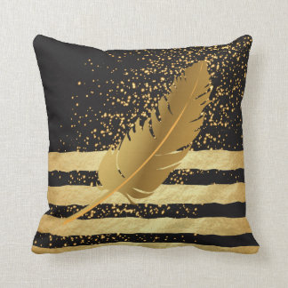 Gold Feather on Gold Confetti and Stripes Throw Pillow