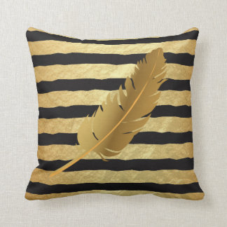 Gold Feather on Gold Foil and Black Stripes Cushion