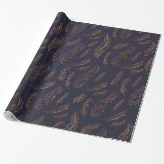Gold feather Patterned Wrapping Paper
