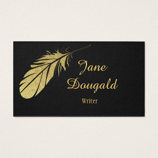 Gold Feather Pen Black Classic Writer's Business Card