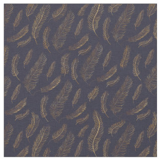 Gold Feather Print Fabric