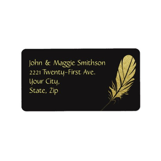 Gold Feather Quill Writers Art Black Address Label