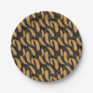 Gold Feathers Paper Plate