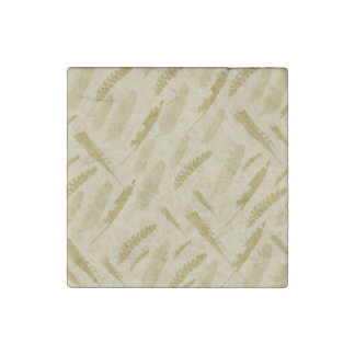 Gold Feathers Stone Magnet