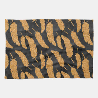 Gold Feathers Tea Towel