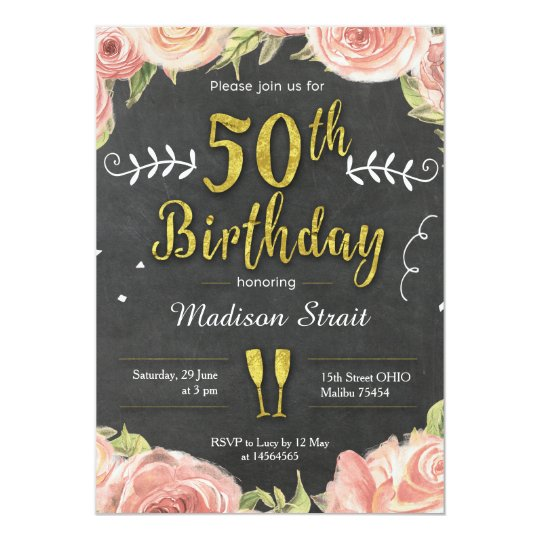Gold Fifty and Fabulous birthday party invitation