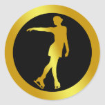 GOLD FIGURE SKATER CLASSIC ROUND STICKER