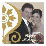 Gold Filigree Elegant Photo Card 13 Cm X 13 Cm Square Invitation Card