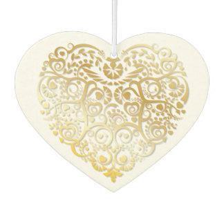 Gold Filigree Heart Air Freshener