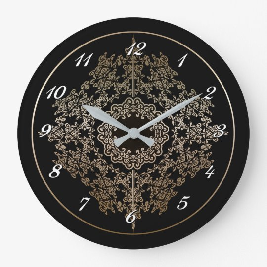 Gold Filigree Motif Wall Clock