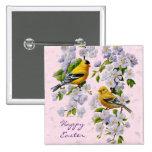 Gold Finch Birds & Apple Tree Pink 15 Cm Square Badge