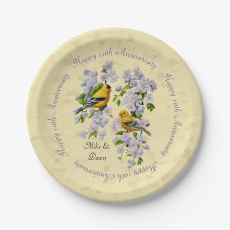 Gold Finches & Apple Blossoms Yellow 7 Inch Paper Plate