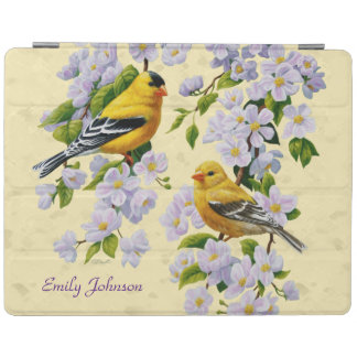 Gold Finches & Apple Blossoms Yellow iPad Cover