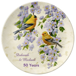 Gold Finches & Apple Blossoms Yellow Porcelain Plates