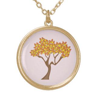 Gold Finish Autumn Tree Necklace