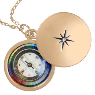 Gold Finish Locket Faux Compass