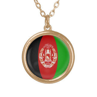 """Gold finish Necklace + 18"""" chain Afghanistan flag"""