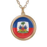 Gold finish Necklace Haiti flag