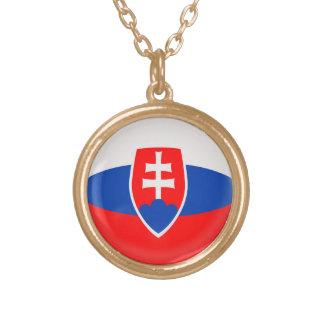 Gold finish Necklace Slovakia Slovak flag