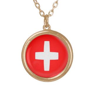 Gold finish Necklace Switzerland Swiss flag