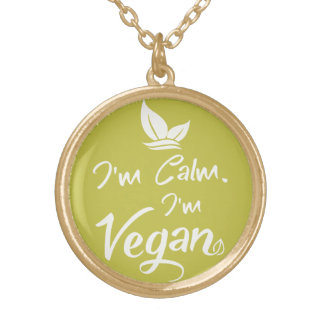 Gold Finish Round Necklace for Proud Vegans
