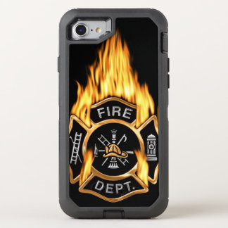 Gold Fire Department Flaming Badge OtterBox Defender iPhone 8/7 Case