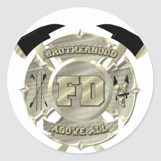 Gold Firefighter Brotherhood Symbol Round Sticker