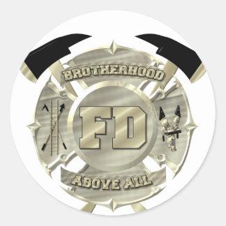 Gold Firefighter Brotherhood Symbol Round Sticker