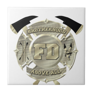 Gold Firefighter Brotherhood Symbol Small Square Tile