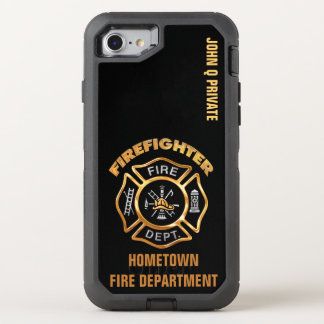 Gold Firefighter Name Template OtterBox Defender iPhone 8/7 Case