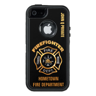 Gold Firefighter Name Template OtterBox Defender iPhone Case