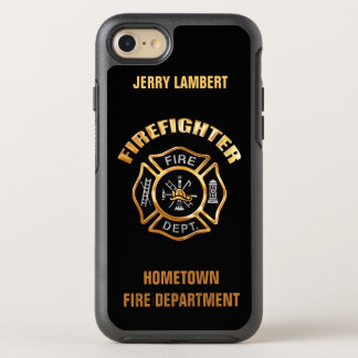 Gold Firefighter Name Template OtterBox Symmetry iPhone 8/7 Case
