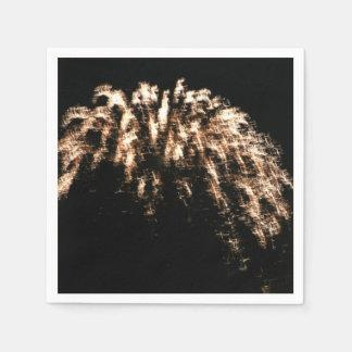 Gold Fireworks Paper Napkins