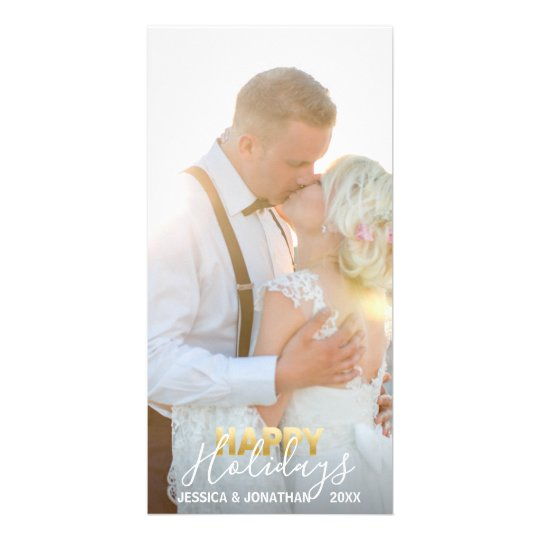 Gold First MARRIED HAPPY Holidays Xmas | Add PHOTO Card