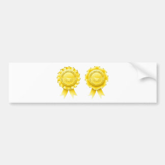 Gold first prize rosettes bumper stickers