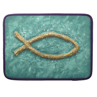 Gold Fish Christian symbol Sleeve For MacBook Pro