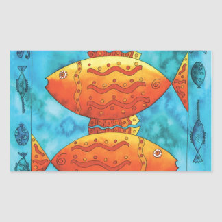 Gold Fish in Blue Ocean Rectangular Sticker