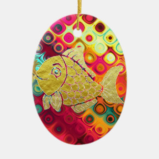 Gold Fish Life Ornament Oval