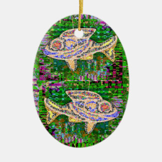 Gold Fish n Green Lagoons on back Ceramic Oval Decoration