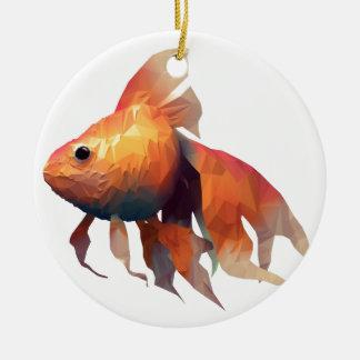 Gold Fish Round Ceramic Decoration