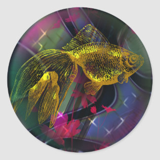 Gold fish Sticker,  3 inch (sheet of 6) Classic Round Sticker