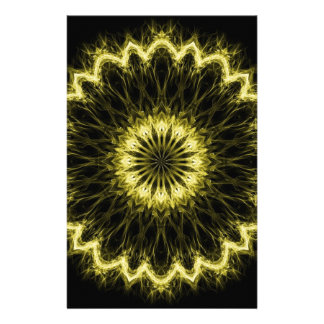 Gold Flaming Flower Stationery
