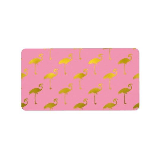 Gold Flamingo Faux Metallic Foil Tropical Flamingo Address Label