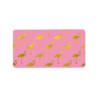 Gold Flamingo Faux Metallic Foil Tropical Flamingo Label