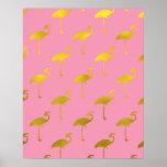 Gold Flamingo Faux Metallic Foil Tropical Flamingo Poster