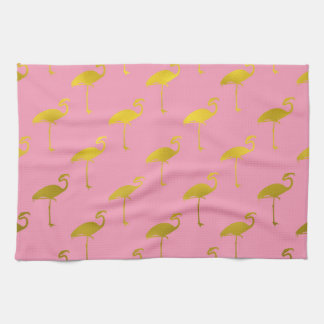 Gold Flamingo Faux Metallic Foil Tropical Flamingo Tea Towel