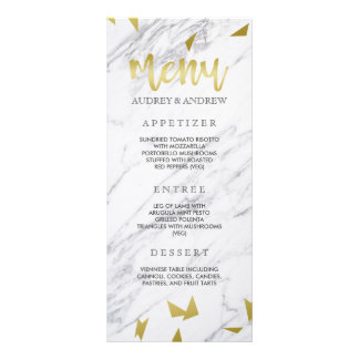 Gold Flecks & Marble Wedding Menu Rack Cards
